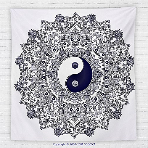 59 x 59 Inches Ying Yang Decor Fleece Throw Blanket Floral Mandala Pattern with Paisley Leaves Henna Style Design Boho Mystic Artsy Print Blanket Blue White Bonnie Blue Patterns