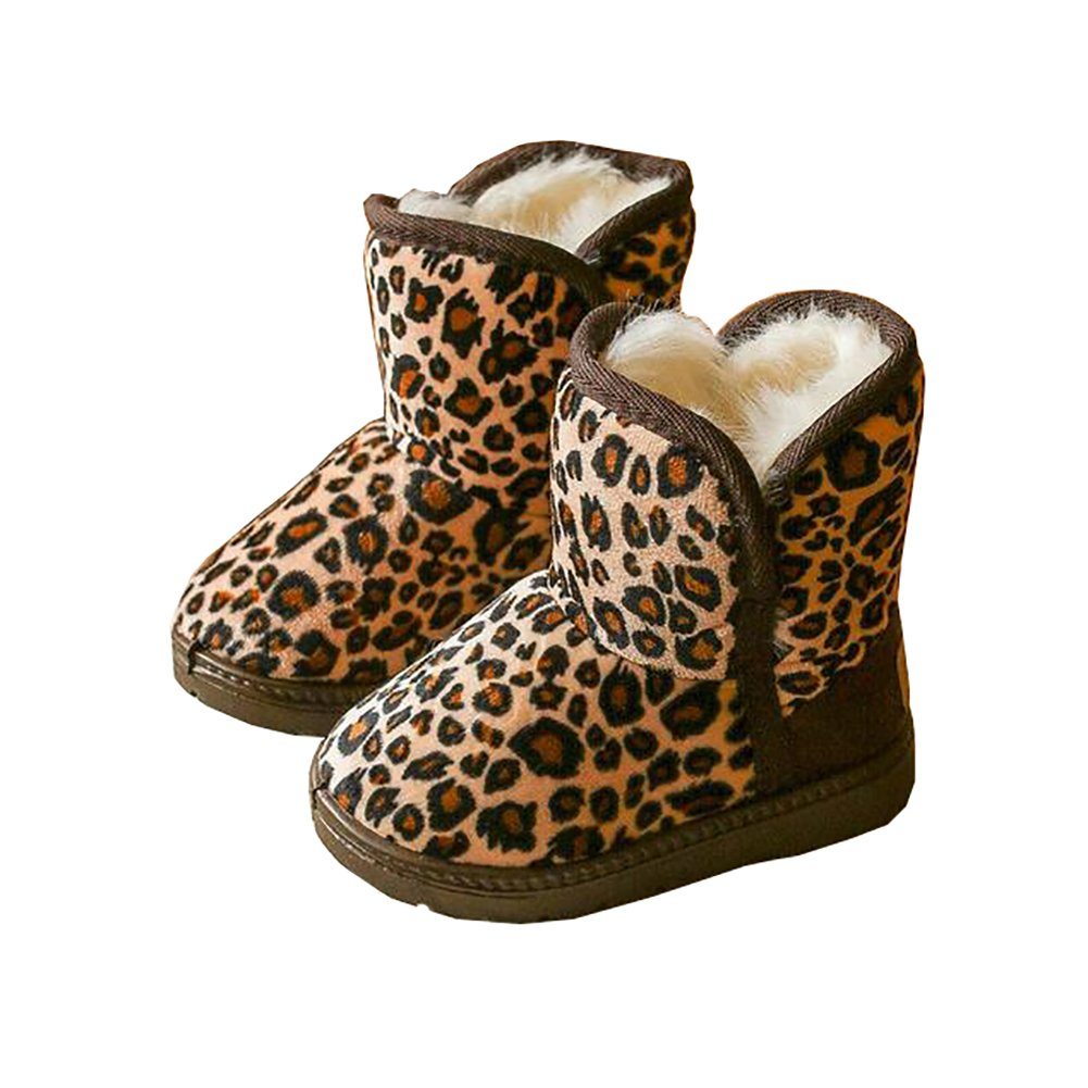 BININBOX Girls Leopard Winter Snow Boots Warm Cotton Shoes Kids (8 M US Toddler, Light Coffee)