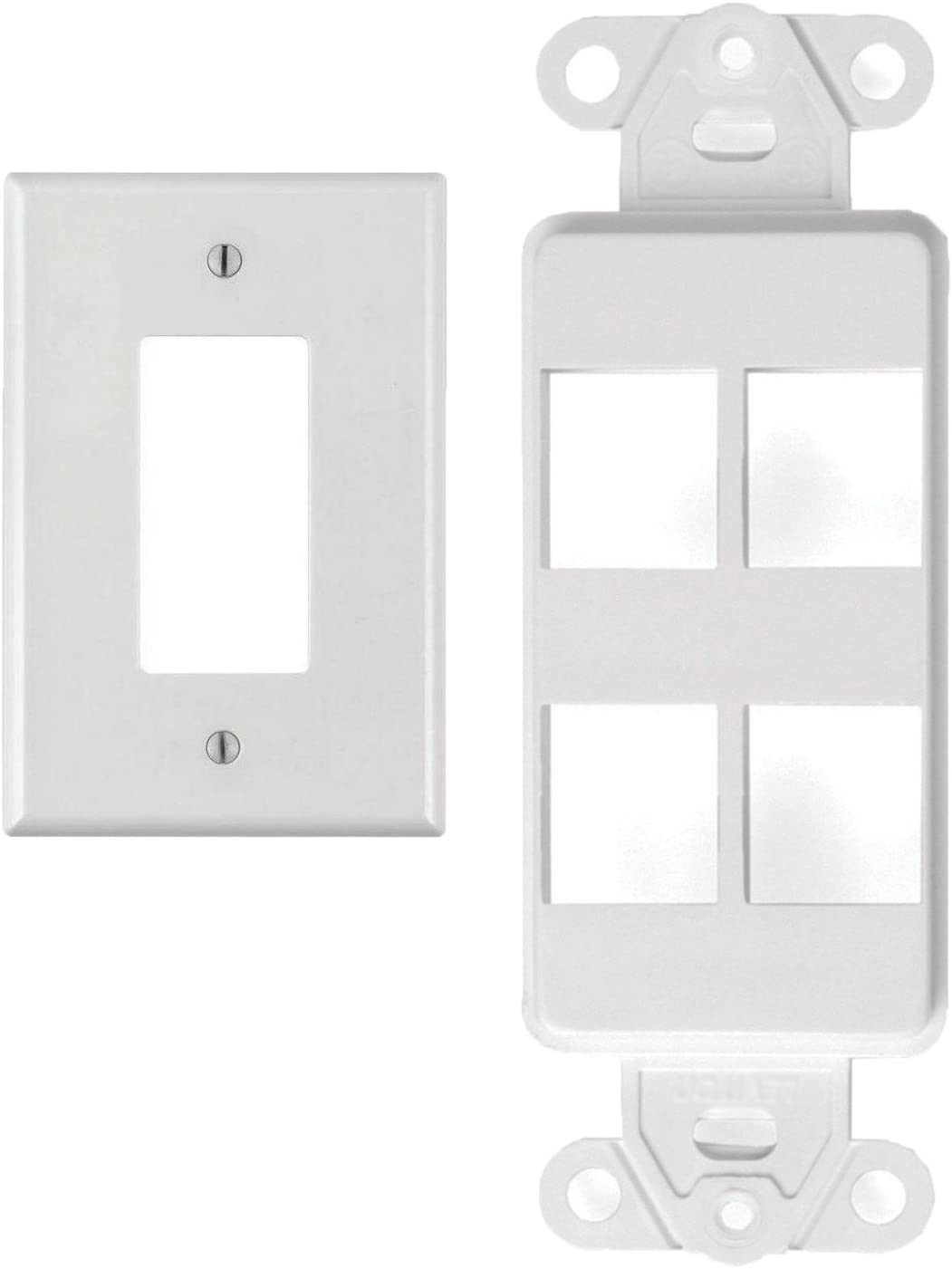 White 2 Port Decora Keystone Snap-in Jack Modular Wall Insert Cover Plate 5//pk