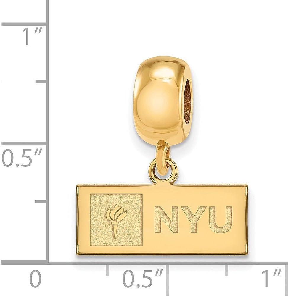 Logoart Sterling Silver New York University Bead Charm Extra Small Dangle