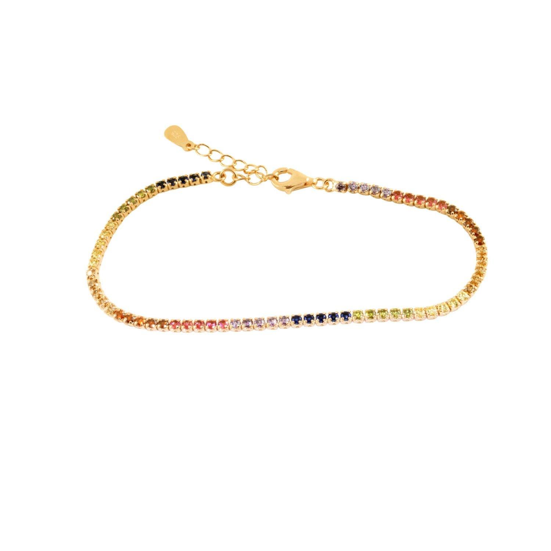 apop nyc Goldtone 925 Silver Round Mini CZ Rainbow Multicolor Tennis Bracelet 7 inch [Jewelry]