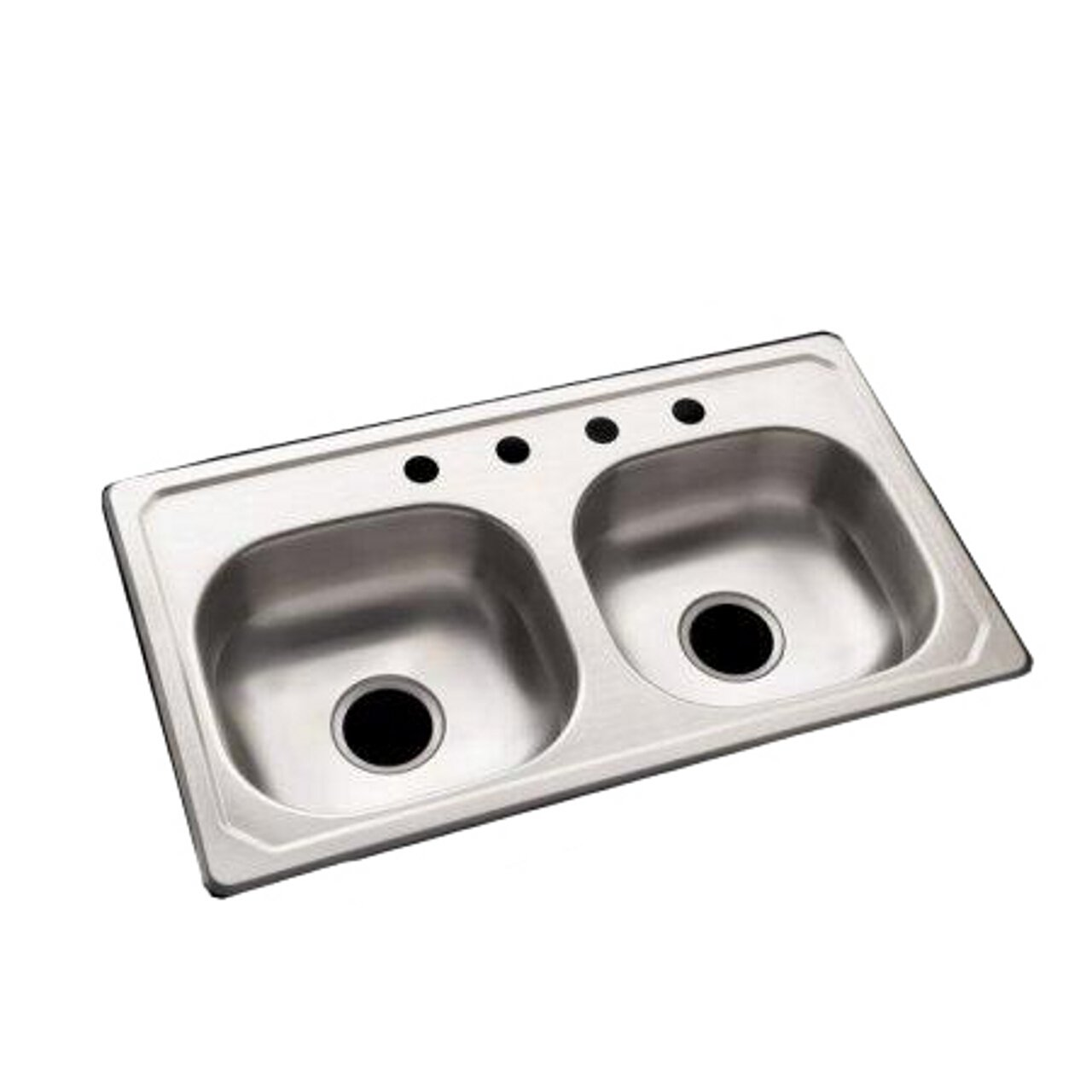 STERLING 14619-4-NA Specialty Sink 19-inch by 33-inch Top-mount Double Equal Bowl Kitchen Sink, Stainless Steel