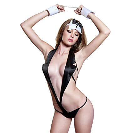 e2241e9bf614c Amazon.com   Lingerie For Women Wild Temptation Cat Girl Game Maid  Handcuffs Uniform Outfits Cosplay Underwear Sets Black Milk Silk Suit    Sports   Outdoors