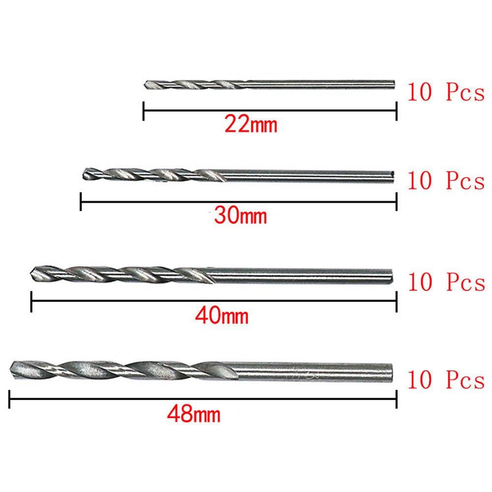 brocas helicoidales conjunto ACAMPTAR 40 piezas broca HSS bits 0.5mm-2.0mm PCB de manejar recto