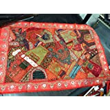 Mogulinterior Vintage Sari Tapestry RED Hand Embroidered Patchwork Wall Hanging Throw