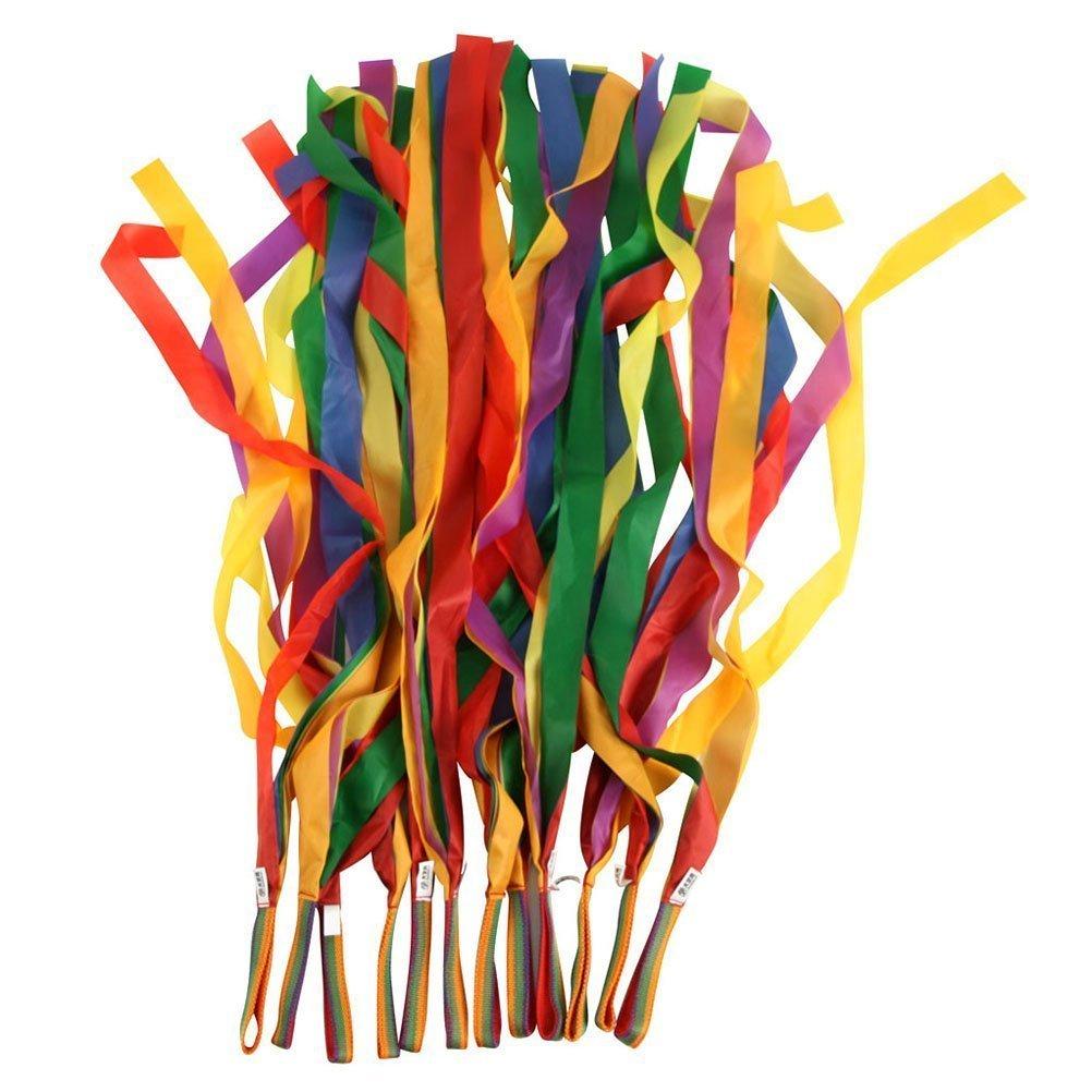 Rainbow Dance Ribbons, LANREN 12PCS Rhythm Ribbon Streamers for Baby Kids Children Adults - Bright & Multi-colored