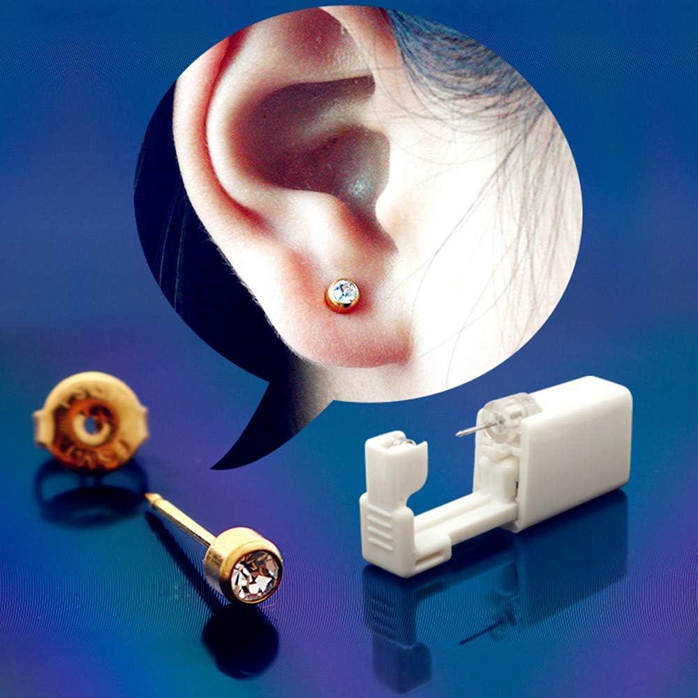 Juego de 4 piezas de pistola de perforación de oreja desechable con pendientes de oreja sin dolor, herramienta para niñas y mujeres y hombres (GolenClear & Clear): Amazon.es: Belleza