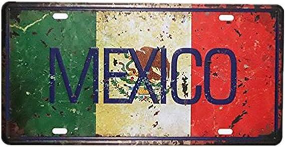 Shinewe MEXICO - Placa decorativa para matrícula de metal (15 x 30 cm), diseño vintage: Amazon.es: Hogar