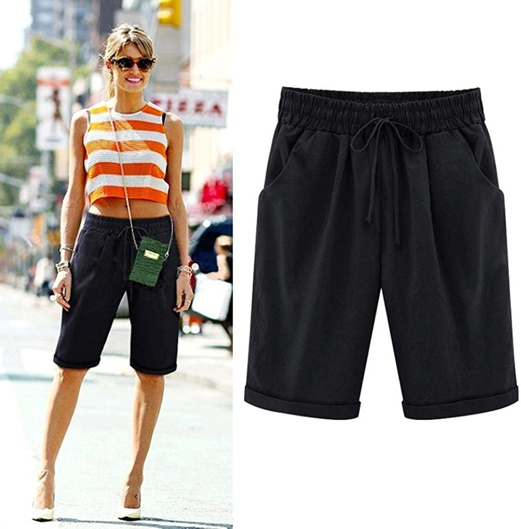 Fanteecy Womens Summer Bermuda Short Relaxed-Fit Shorts Elastic Waist Casual Cotton Linen Pants Plus Size