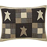 Primitive Star Quilted Standard Sham - Black Creme and Grey