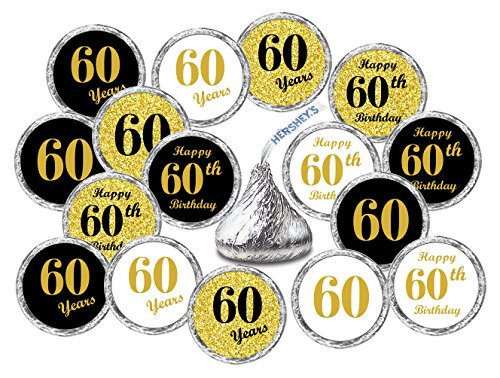 60th Birthday Kisses Stickers, (Set of 324) Chocolate Drops Labels Stickers For 60th Birthday, Hershey's Kisses Party Favors Decor, 9 Designs (36 Stickers of Each)