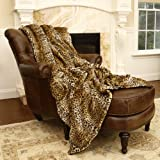 "Best Home Fashion Faux Fur Throw - Full Blanket - Leopard - 58""W x 84""L - (1 Throw)"