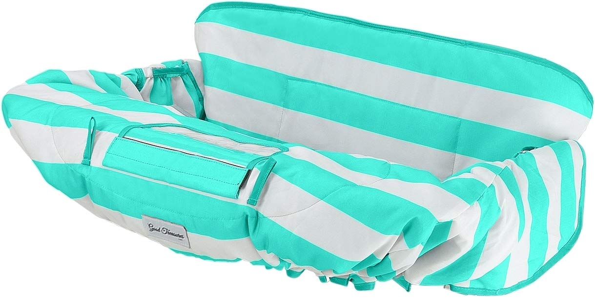 Good Treasures 2-in-1 Deluxe Shopping Cart & High Chair Cover for Baby & Toddler in Multiple Colors with 360° Surface Protection - Ideal Gift for Baby Shower or Registry (Turquoise)