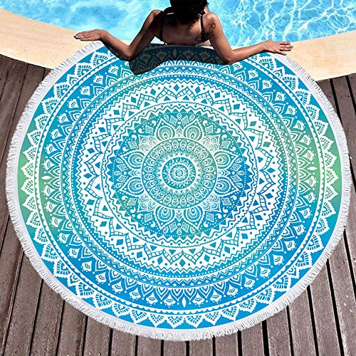 Bonsai Tree Mandala Round Beach Towel, Indian Hippie Boho Extra Large Sand Proof Beach Blanket, Circle Meditation Yoga Mat with Tassels 59