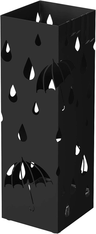 SONGMICS Metal Umbrella Stand, Square Umbrella Holder Rack, with Hooks and Drip Tray, 15.5 x 15.5 x 49 cm, Black LUC49B
