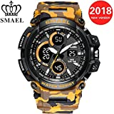 GYMTOP Men's Military Sports Watch Camouflage - SMAEL Watches 50M Water Resistance Digital-Analog Dual Display Wristwatch with LED Backlight relogio masculino (Yellow)