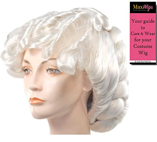 Vintage Hair Accessories: Combs, Headbands, Flowers, Scarf, Wigs 1872 Full Braided Color White - Lacey Wigs Victorian Hostess Weathly Lady 18th CenturyBundle With MaxWigs Costume Wig Care Guide $77.99 AT vintagedancer.com