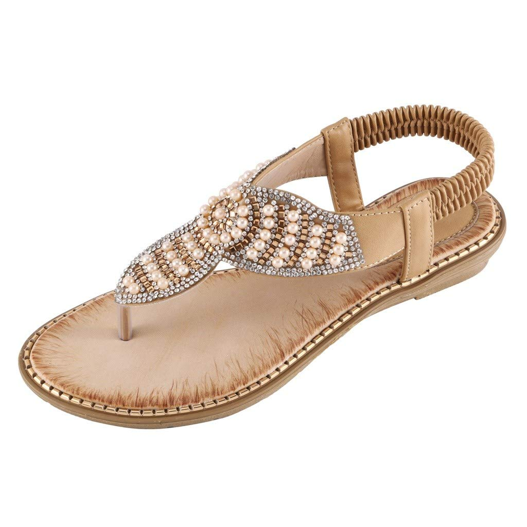 Orangeskycn Women Sandals Bohemia Plus Size Ladies Rhinestone Crystal Flat Sandals Gladiator T-Type String Bead Shoes Beige by Orangeskycn Women Sandals