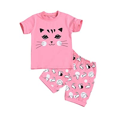 10f2a3deb PLOT 2Pcs Baby Boys Pajamas Cartoon Cat Print Tops Shorts Outfit Set ...
