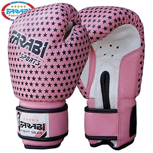 Kids boxing gloves, junior mitts, junior mma kickboxing Sparring gloves 4Oz pink stars