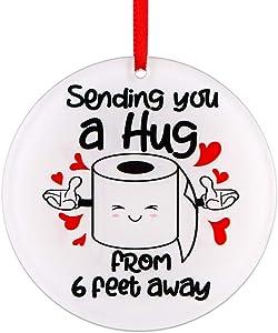 "Hohomark Toilet Paper Ornaments 2020 Sending You a Hug from 6 feet Away Quarantine Christmas Ornaments 2020 for Christmas Tree Decorations 3"""