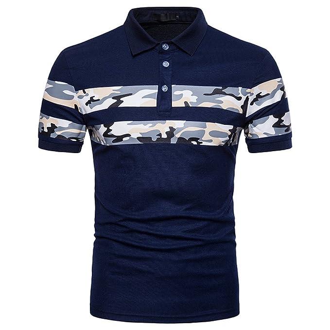 1dd0c55d0152 BURFLY Camouflage Shirt, Mode Mens Tasten Design Camouflage O-Neck Kurzarm  Slim Fit Casual