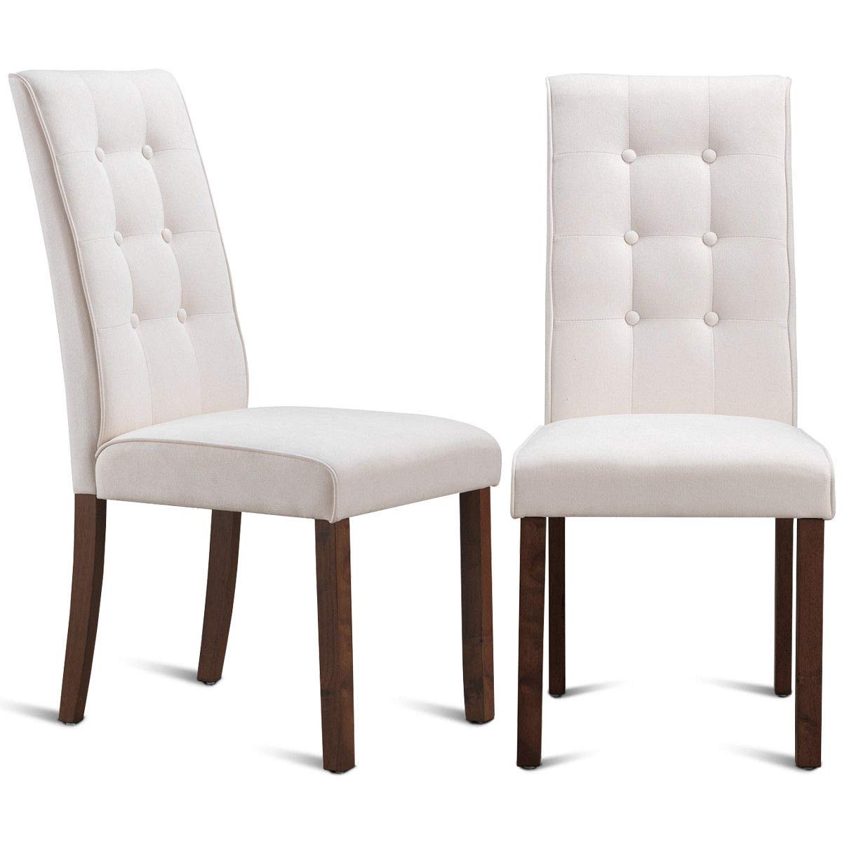 Giantex set of 2 dining chairs with sturdy wood frame and tufted back high back upholstered home living room dining room furniture dining chair set