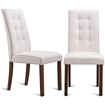 Amazon Com Giantex Set Of 2 Dining Chairs With Sturdy Wood Frame