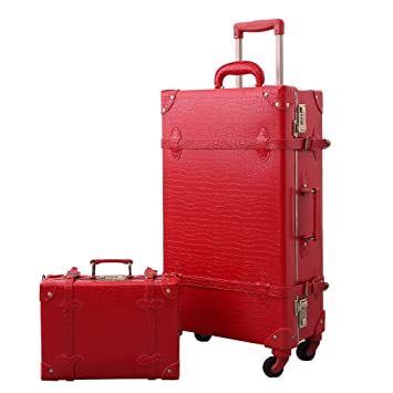 3fca43469456 Vintage Luggage Set Carry On Luggage Retro Travel Suitcase with Rolling  Spinner password lock (2 pcs)