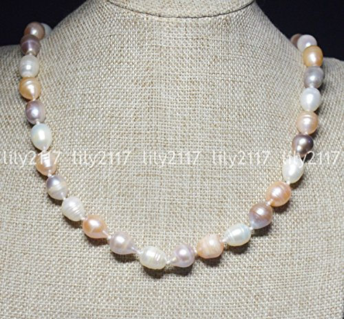 Natural 11-12mm Multi-Color South Sea Baroque Real Pearl Necklaces 24 Inch