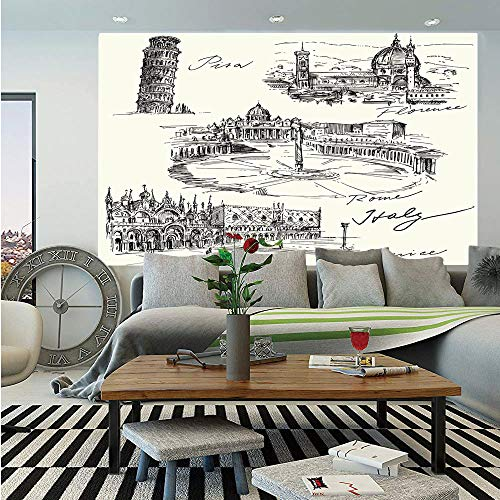 SoSung Sketchy Huge Photo Wall Mural,Travel The World Themed Historical Italian Landmarks Venice Rome Florence Pisa Decorative,Self-Adhesive Large Wallpaper for Home Decor 100x144 inches,Black Cream