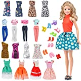 E-TING Lot 15 Items = 5 Sets Fashion Casual Wear Clothes/Outfit with 10 Pair Shoes for Barbie Doll Random Style (Casual Wear Clothes + Short Skirt)
