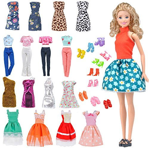 E-TING Lot 15 Items = 5 Sets Fashion Casual Wear Clothes/Outfit with 10 Pair Shoes for Barbie Doll Random Style (Casual Wear Clothes + Short (Gift Set Barbie Fashion Model)
