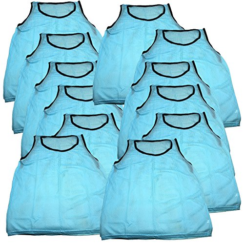 BlueDot Trading Youth Sports Pinnie Scrimmage Training Vest, Sky Blue, 12 Pack