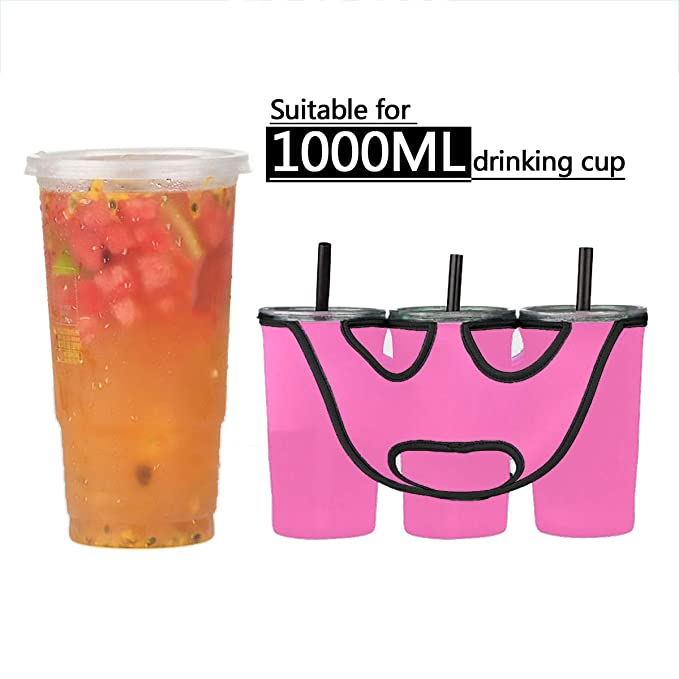 Freebily Neoprene Insulated Bottle Cup Holder Carrier Tote Bag for Carrying Coffee Soft Drink Beverage Milk Tea Black /& Red One Size