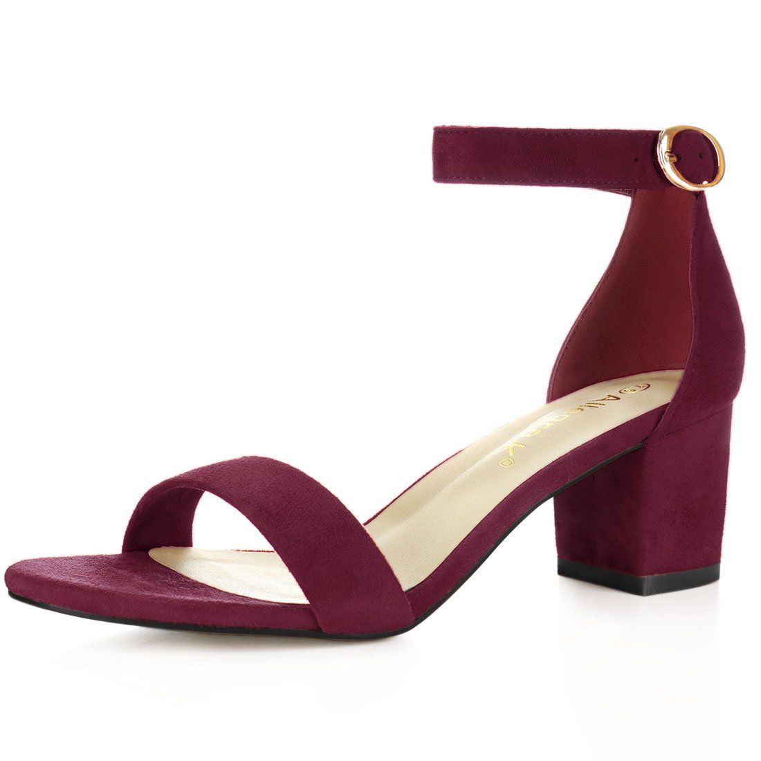 Allegra K Women's Open Toe Mid Block Heel Ankle Strap Sandals (Size US 6) Burgundy