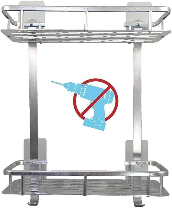 selbstklebendes Duschregal mit Handtuchhalter Skroad Badezimmerregale Aluminiumverdickendes Badezimmerregal ohne Bohrer Wandregal f/ür die K/üche
