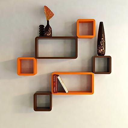 Lovely DecorNation Wall Shelf Set Of Six Cube Rectangle Designer Wall Rack Shelves    Orange And Brown