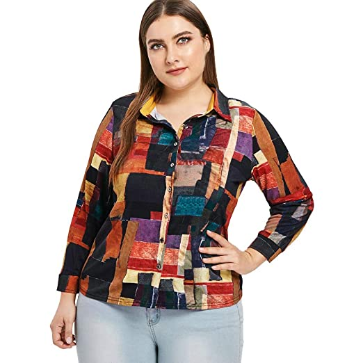 43dce41b72eee Amazon.com  HIKO23 Fashion Women s Plus Size Office Formal Blouse Casual  Long Sleeve Floral Print Color Block Button Down Collar Tops  Clothing