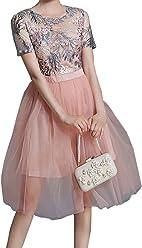 1ba86e35138c1d Unomatch Women Mesh Colours Fluffy Sheer Bottom Dress