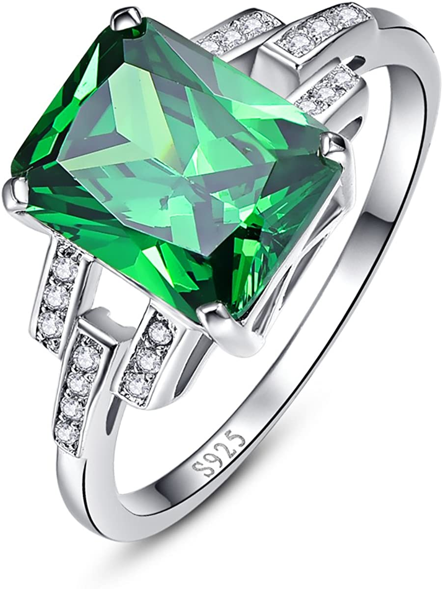 BONLAVIE Women's Created Emerald Rings May Birthstone 925 Sterling Silver Wedding Anniversary Solitaire Engagement Ring