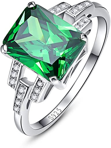 promise ring emerald ring round cut green gemstone sterling silver ring May birthstone