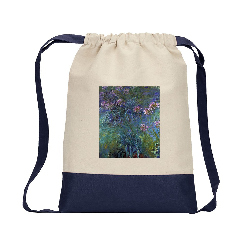 Jewelry Lilies #1 (Monet) Canvas Backpack Color Drawstring Bag - Navy