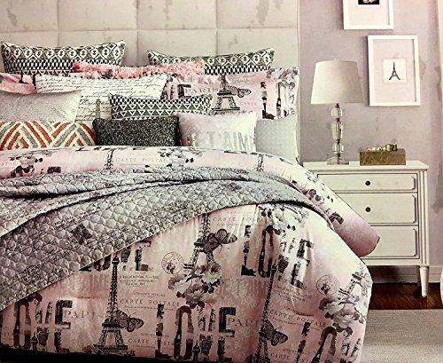 Park Avenue Comforter Set - Paris 3 Piece QUEEN DUVET Set by Envogue BRKLYN PARK | Features Eiffel Tower on Pink