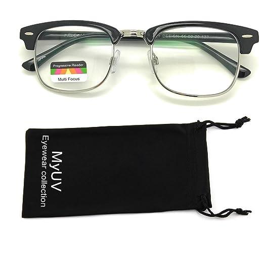 4b6f8d95c502 Vintage Retro Classic Half Frame Horn Rimmed Multifocus Progressive Reading  Glasses (Black