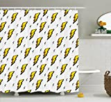 Ambesonne Vintage Decor Collection, Retro Flash Electric Icons with Chequer Funky Lines Weather Batman Boom Pop Art Comic, Polyester Fabric Bathroom Shower Curtain Set with Hooks, White Yellow