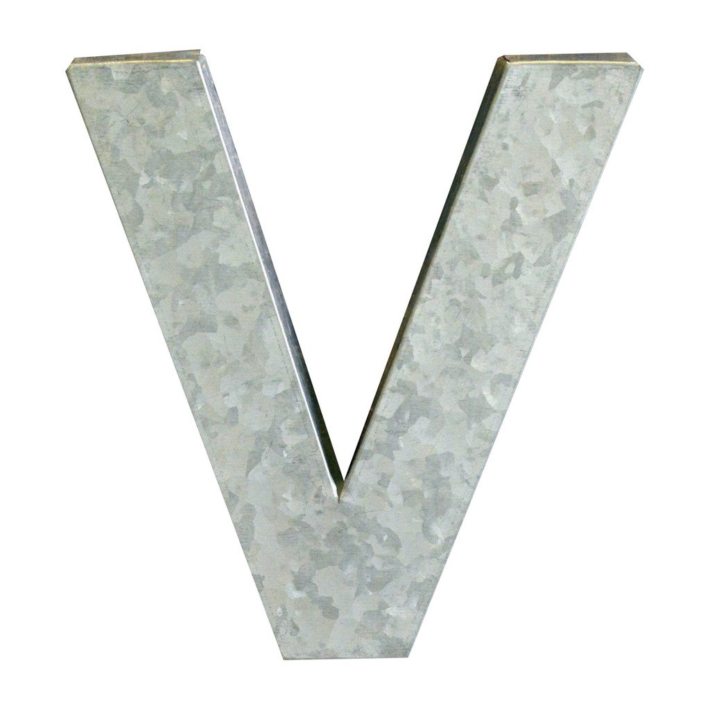 Modelli Creations Alphabet Letter V Wall Decor, Zinc