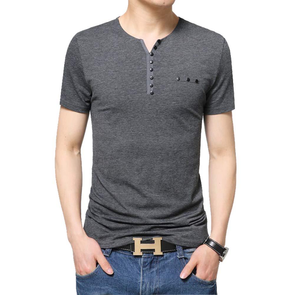 LASHER Men Summer Fashion Button V Neck Slim Muscle Tops Tee T Shirt Long Short Sleeve