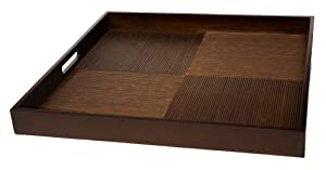 """Simply Bamboo Extra Large (20"""" X 20"""") Espresso Brown Bamboo Wood Square Serving Tray"""