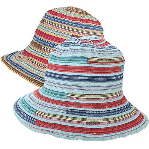 kilofly 2pc Soft Brim Outdoor Summer Beach Sun Hat Woven Straw Braid Bucket Cap